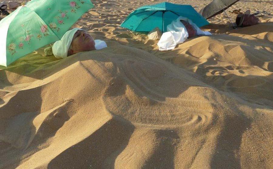 begraven in zand